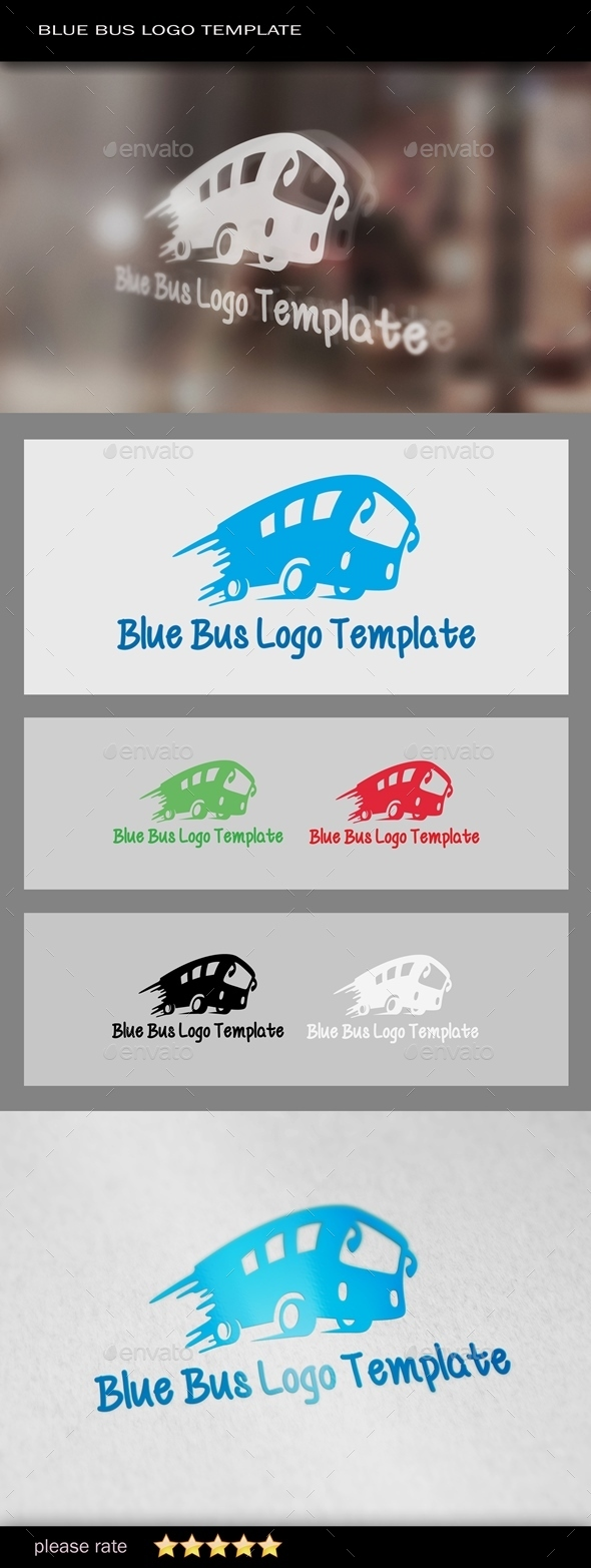 Blue Bus Logo Template - Objects Logo Templates
