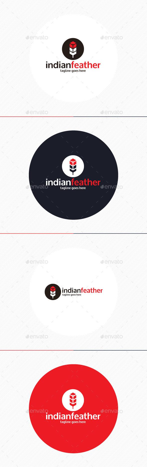 Indian Feather Logo - Vector Abstract