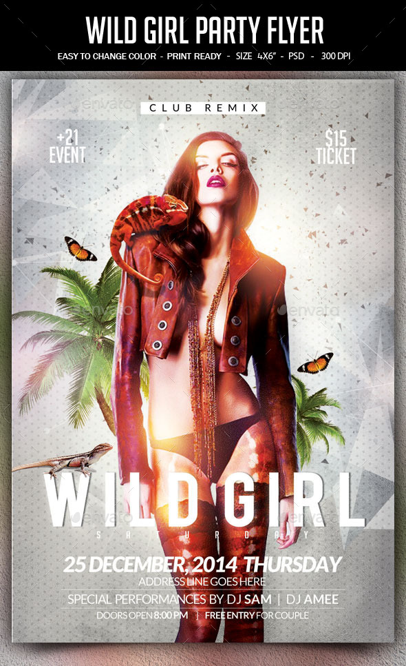 Wild Girl Saturday Flyer - Clubs & Parties Events