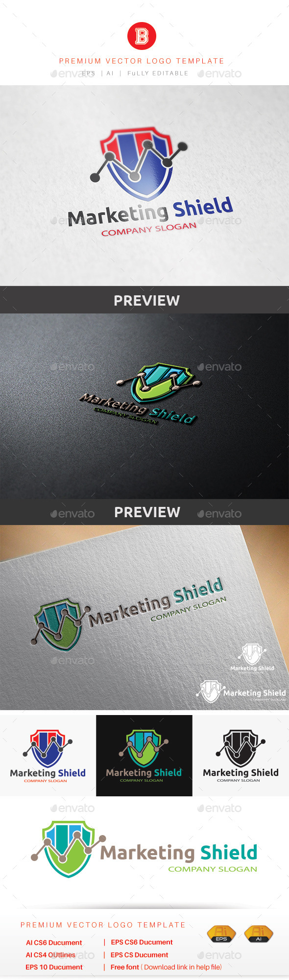 Marketing Shield - Objects Logo Templates