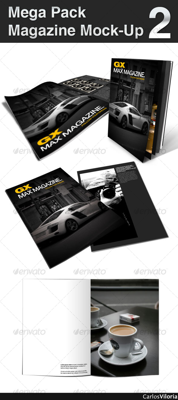Mega Pack Magazine Mock-Up 2 - Magazines Print Templates