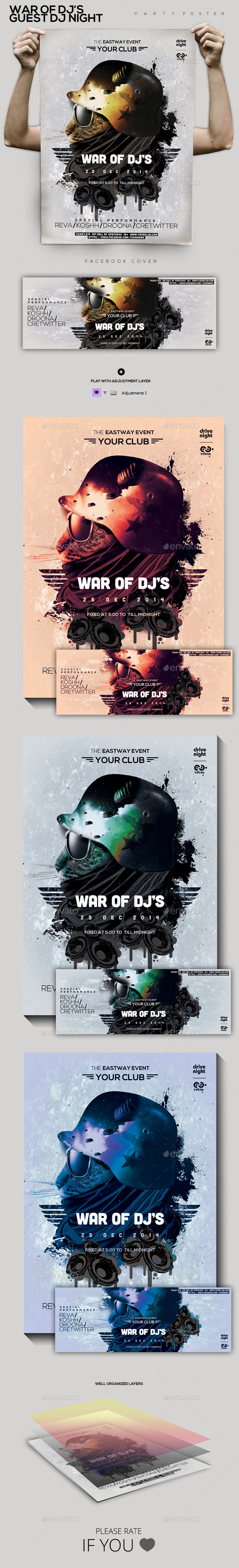 War Of Guest Dj's Party Flyer/Poster - Clubs & Parties Events