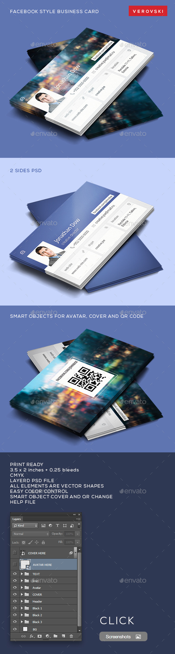 Facebook style business card by verovski graphicriver facebook style business card industry specific business cards fbccfo Images