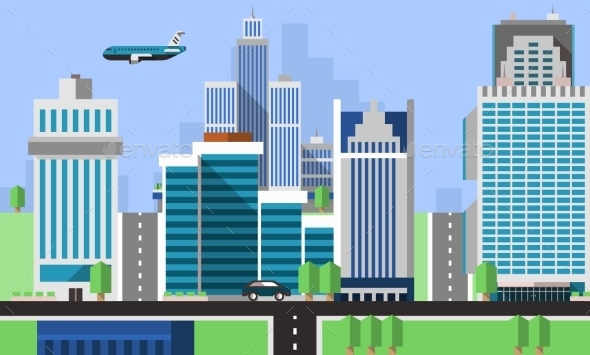 Skyscraper Offices Background - Buildings Objects