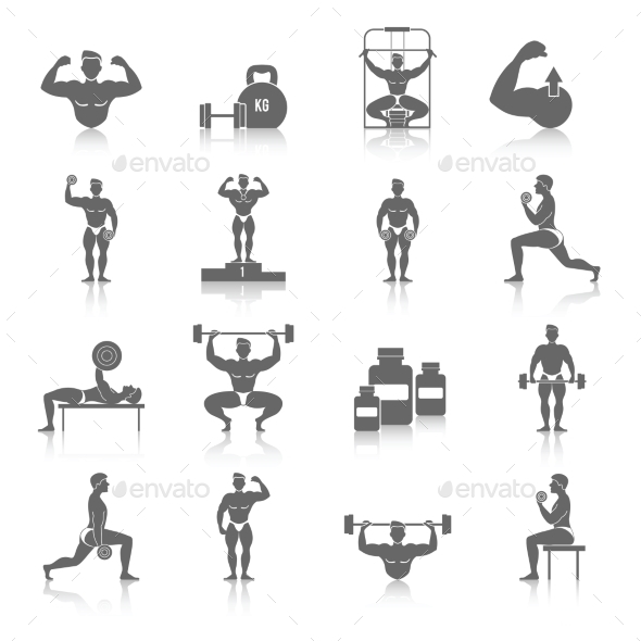 Bodybuilding Icons Set - People Characters