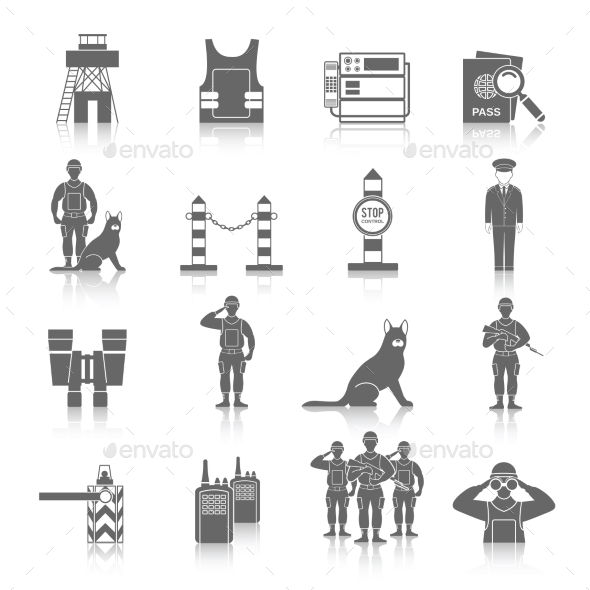 Border Guard Icon Set - People Characters