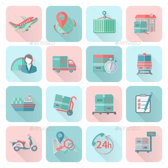 Logistic Icons Set Flat - Business Conceptual