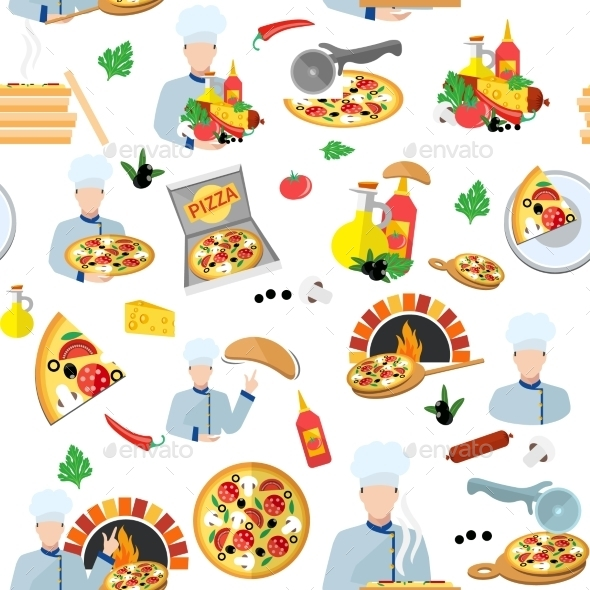 Pizza Maker Seamless Pattern - Food Objects