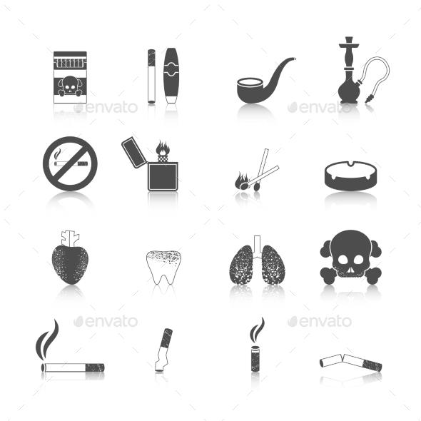 Smoking Icon Black Set - Web Elements Vectors