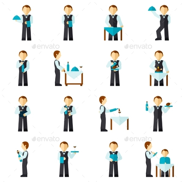 Waiter Man Icon Flat - People Characters