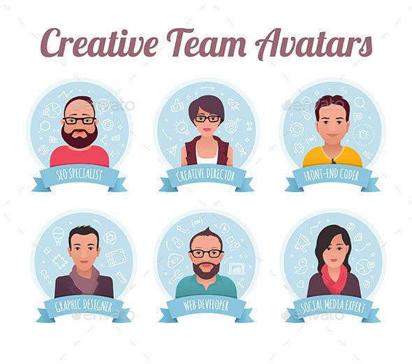 Digital Marketing Team Avatars - People Characters