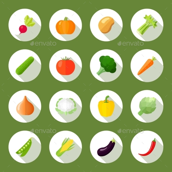 Vegetables Icons Flat Set - Web Elements Vectors