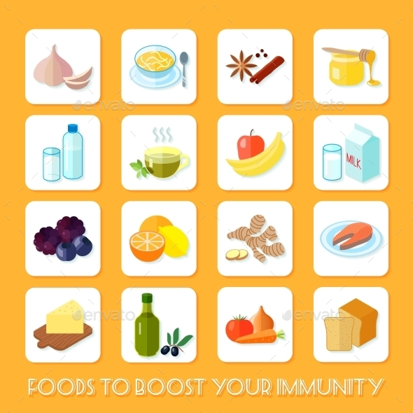 Healthy Food Icons Flat - Web Icons