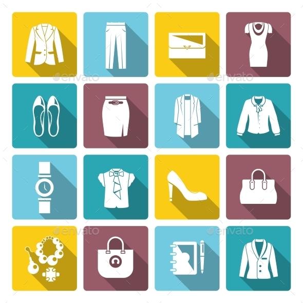 Businesswoman Clothes Set - Web Elements Vectors