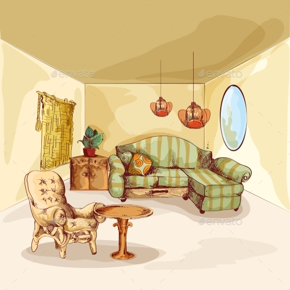 Living Room Interior Sketch - Objects Vectors