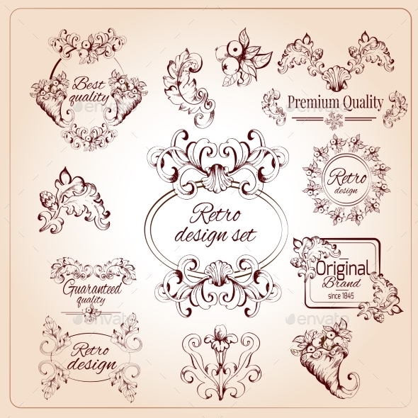Retro Design Elements - Flourishes / Swirls Decorative