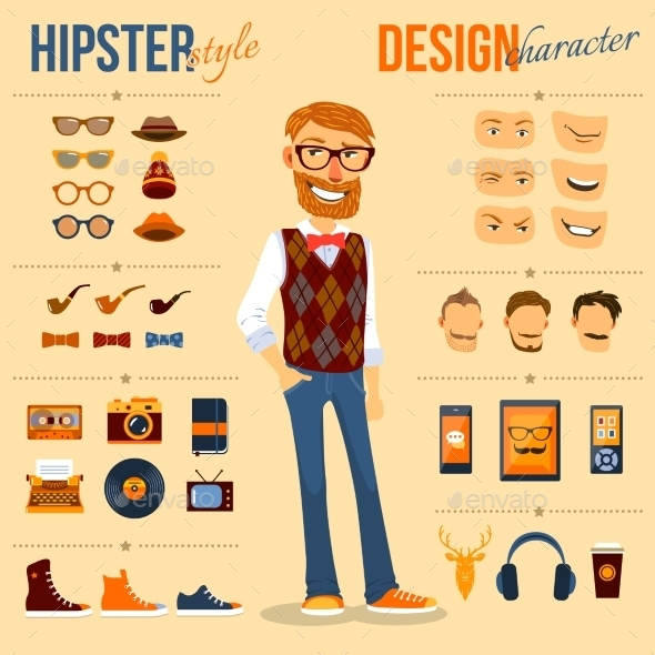 Hipster Character Pack - People Characters