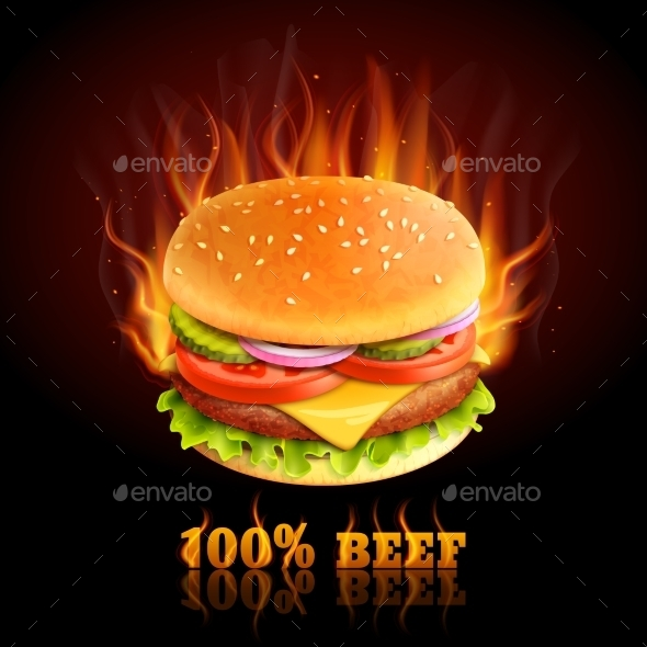 Beef Hamburger Background - Food Objects