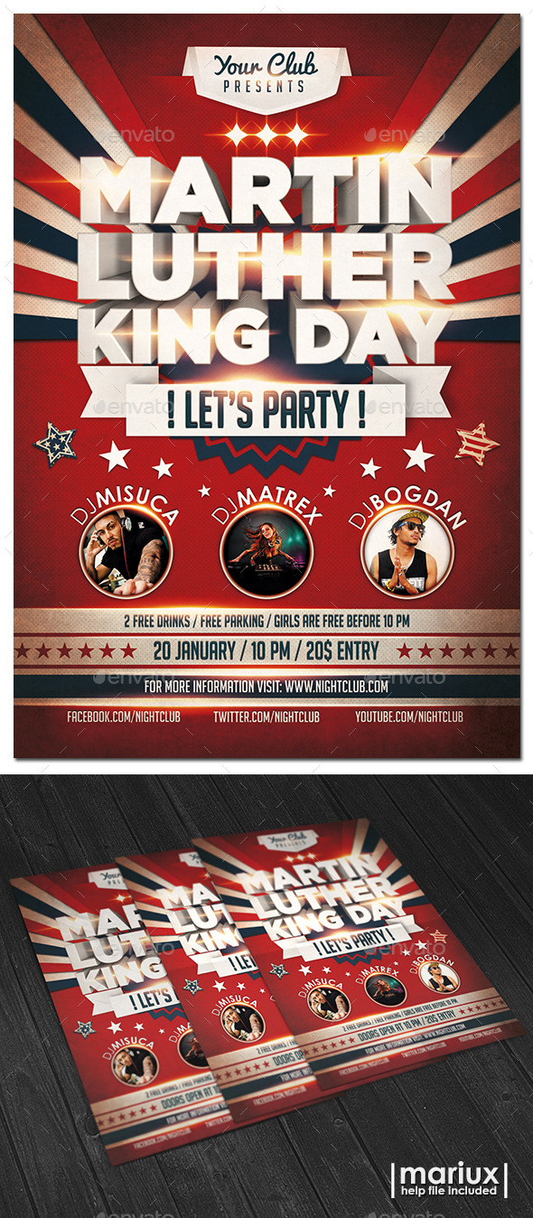MLK Day Party Flyer - Holidays Events