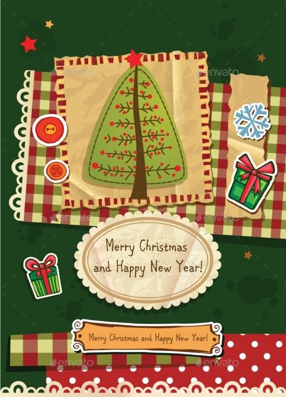 Scrapbook Christmas Greeting Card - Christmas Seasons/Holidays