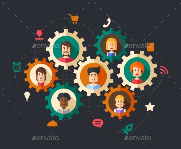 Illustration of Abstract Business People - Concepts Business
