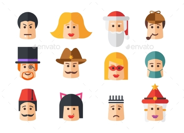 Set of Avatars Icons - People Characters
