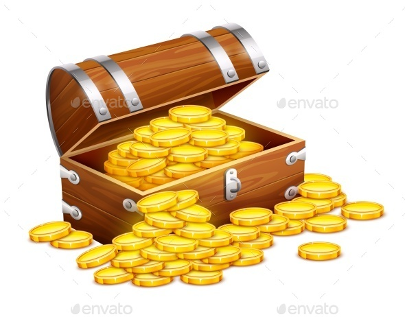 Pirates Trunk Chest Full of Gold Coins - Man-made Objects Objects