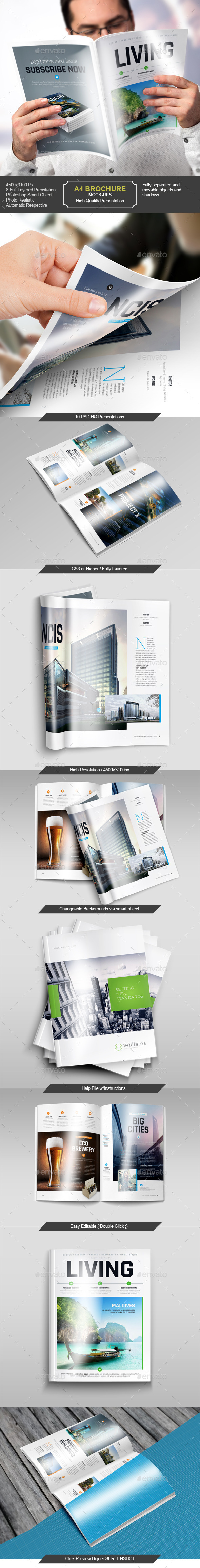 A4 / Brochure Magazine / Mock-Up Set  - Brochures Print