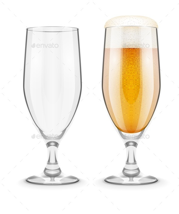 Beer with Foam in Glass Goblet for Pub Drinking - Man-made Objects Objects