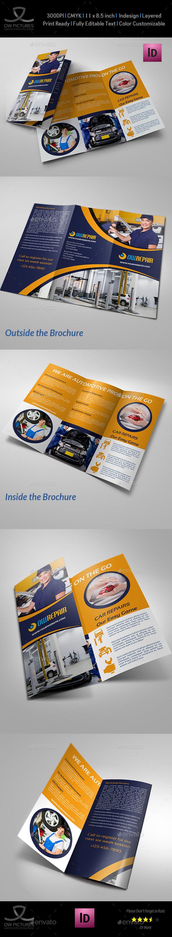 Car Repair Tri-Fold Brochure Template Vol2 - Informational Brochures