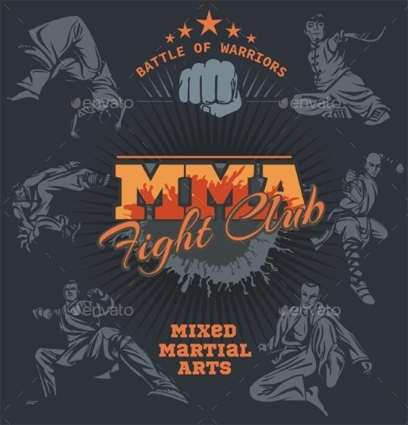 Mixed Martial Arts Design Labels - Sports/Activity Conceptual