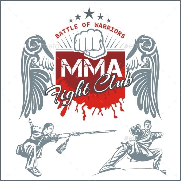 MMA Labels Mixed Martial Arts Design - Sports/Activity Conceptual