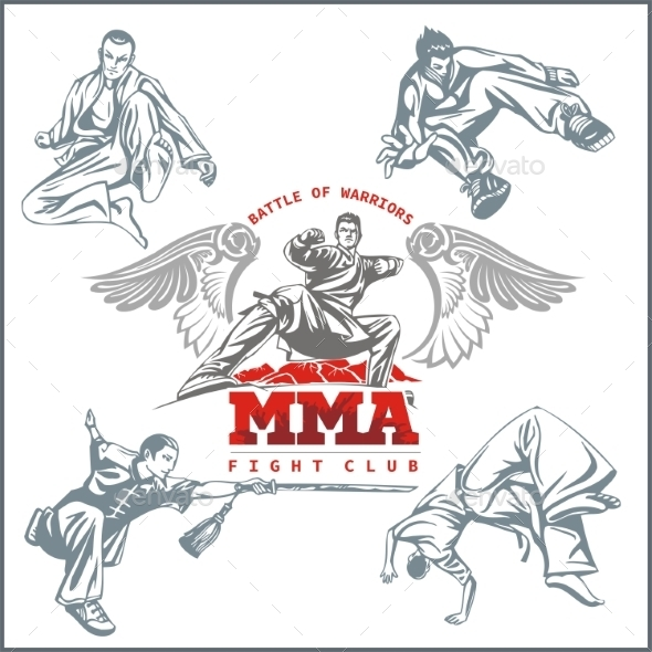 MMA Labels Mixed Martial Arts Design - Sports/Activity Conceptual