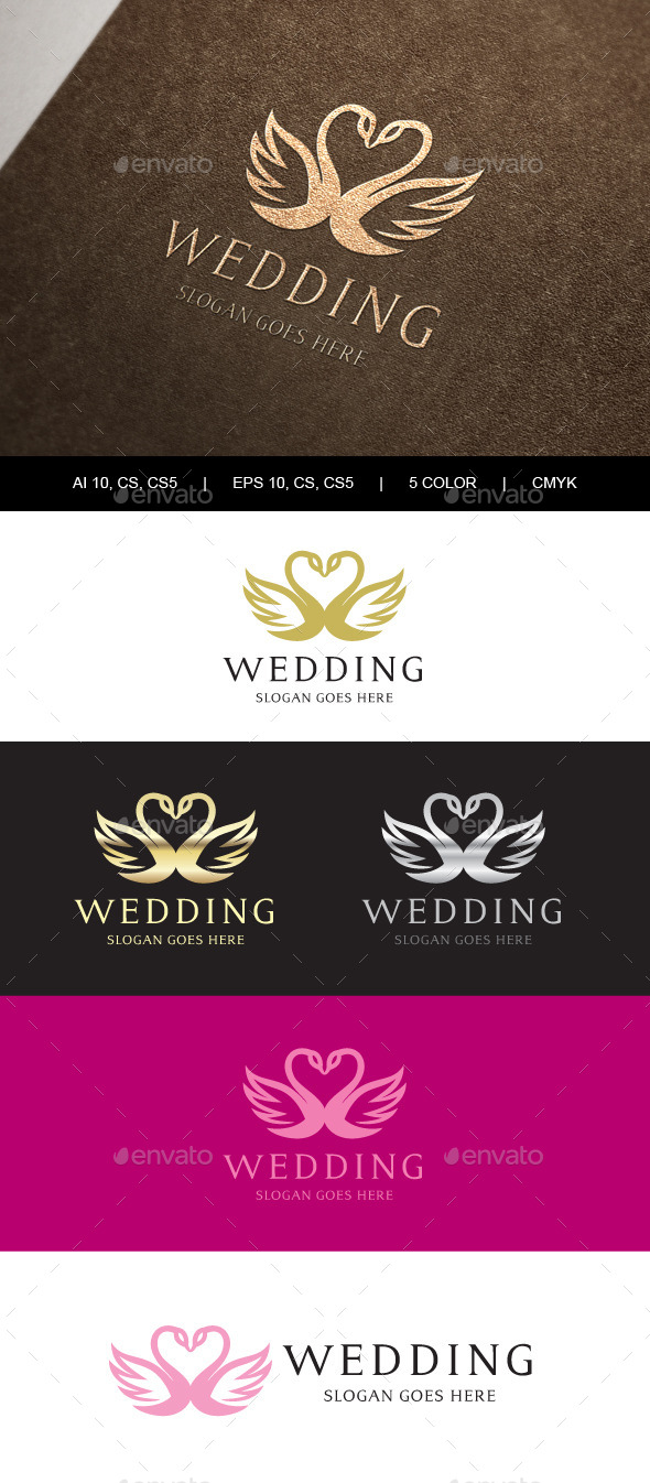 Swan Wedding Crest Logo - Crests Logo Templates