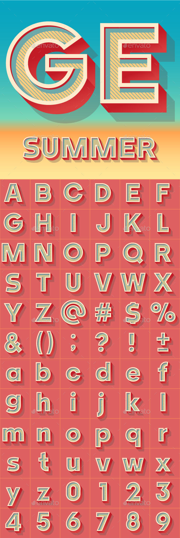 Summer Bold Alphabet - Decorative Symbols Decorative
