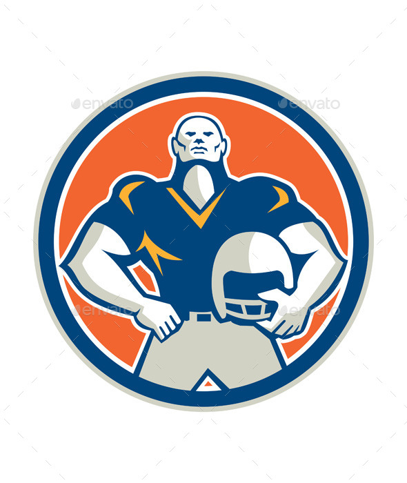 American Football with Helmet Circle - Sports/Activity Conceptual