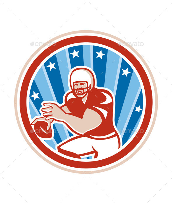 American Football Quarterback Retro Circle  - Sports/Activity Conceptual