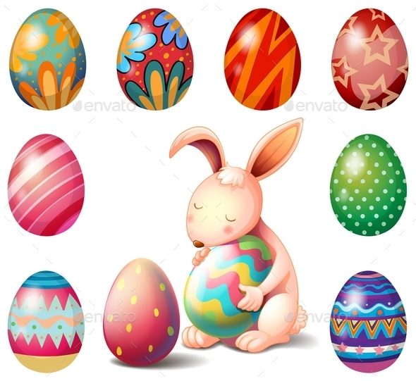 Bunny Surrounded with Easter Eggs  - Animals Characters
