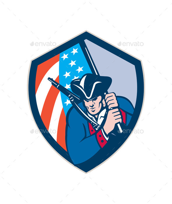American Patriot Holding Brandish Flag Shield - People Characters