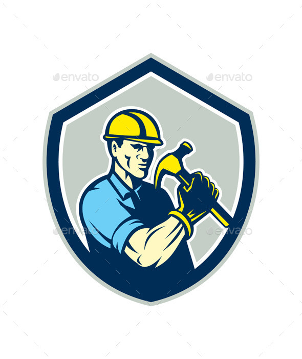 Builder Carpenter Holding Hammer Shield - People Characters
