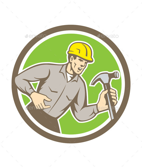 Builder Carpenter Holding Hammer Circle - People Characters