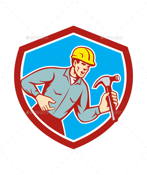 Builder Carpenter Shouting Hammer Shield - People Characters