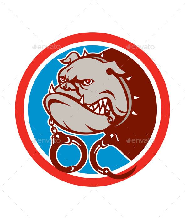 Bulldog with Handcuffs Circle - Animals Characters