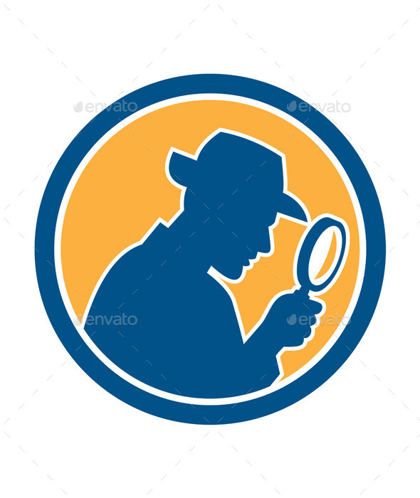 Detective Holding Magnifying Glass Circle Retro - People Characters