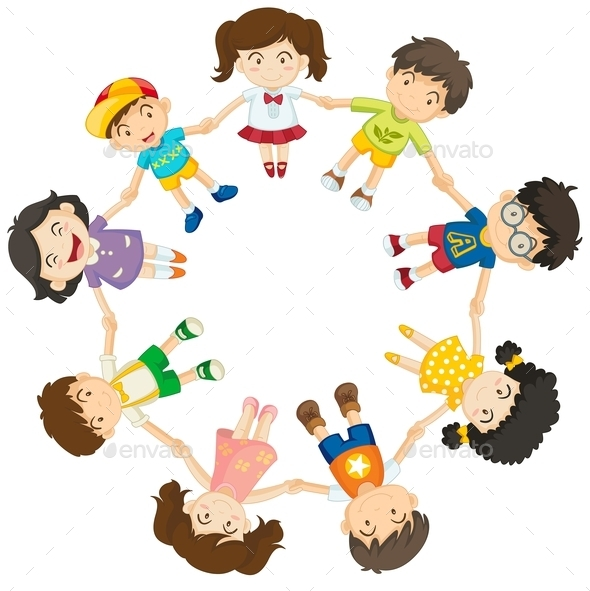 Diverse Kids in a Circle  - People Characters