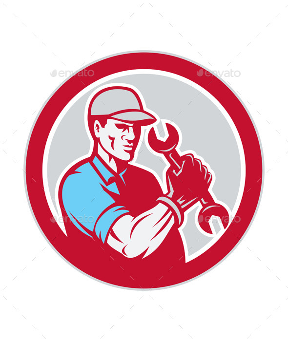 Mechanic Holding Spanner Wrench Circle - People Characters