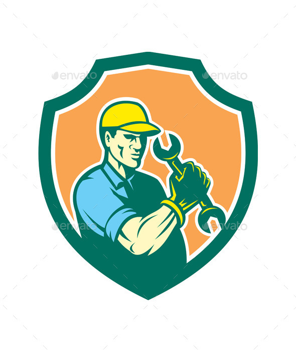 Mechanic Holding Spanner Wrench Shield - People Characters