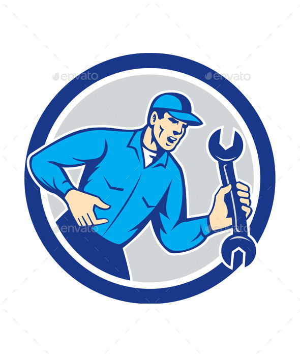 Mechanic Shouting Holding Spanner Wrench - People Characters