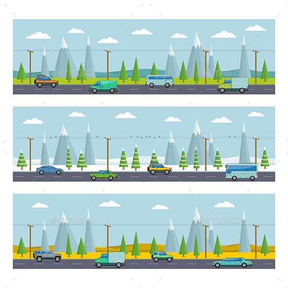 Landscape with Mountains - Vectors