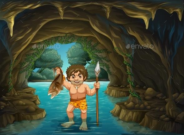 Caveman and Fish  - People Characters